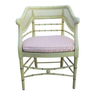 Mid 20th Century Regency Faux Bamboo Yellow Chair For Sale