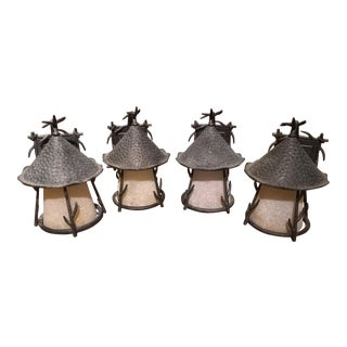 Lodge Forged Iron Exterior Wall Sconce - Set of 4 For Sale