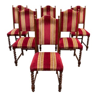 1900s Vintage Louis XIII Style Barley Twist Solid Walnut Dining Chairs - Set of 6 For Sale