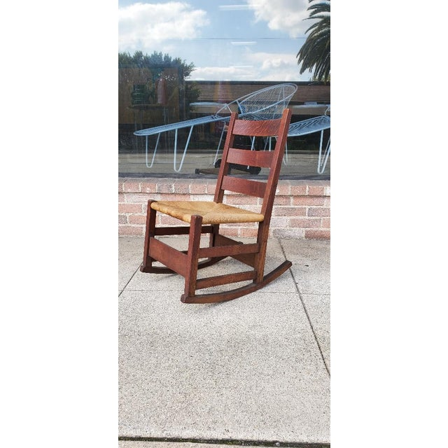 Gustav Stickely Early Arts & Crafts Mission Oak Youth Rocker Chair For Sale - Image 13 of 13