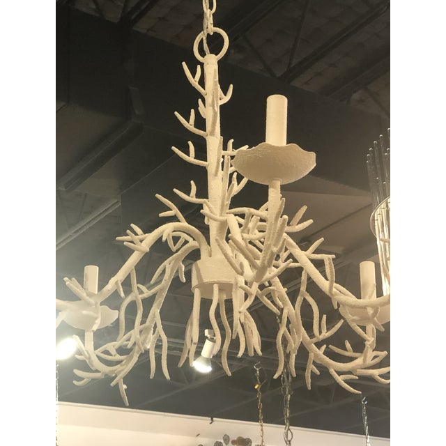 Vintage Palm Beach Metal Coral 5 Light Chandelier For Sale - Image 4 of 10