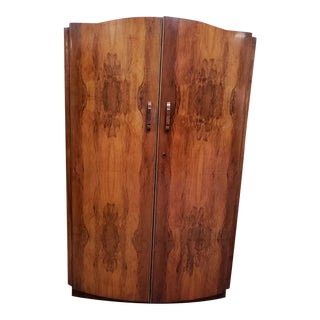 Bowfront Double Door Walnut Armoire For Sale