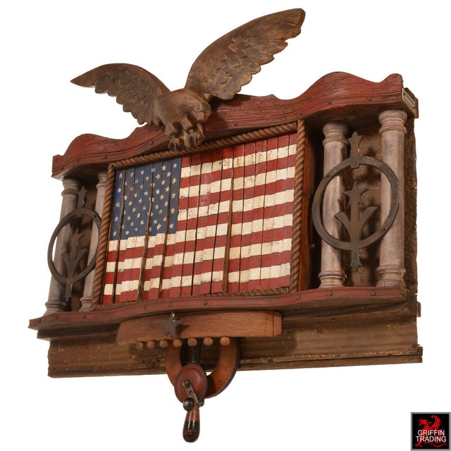 FOREVER SHE WAVES #2 Mechanical American Flag with Eagle For Sale - Image 4 of 10