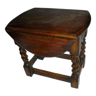 Small Drop Leaf Oak Side Table For Sale