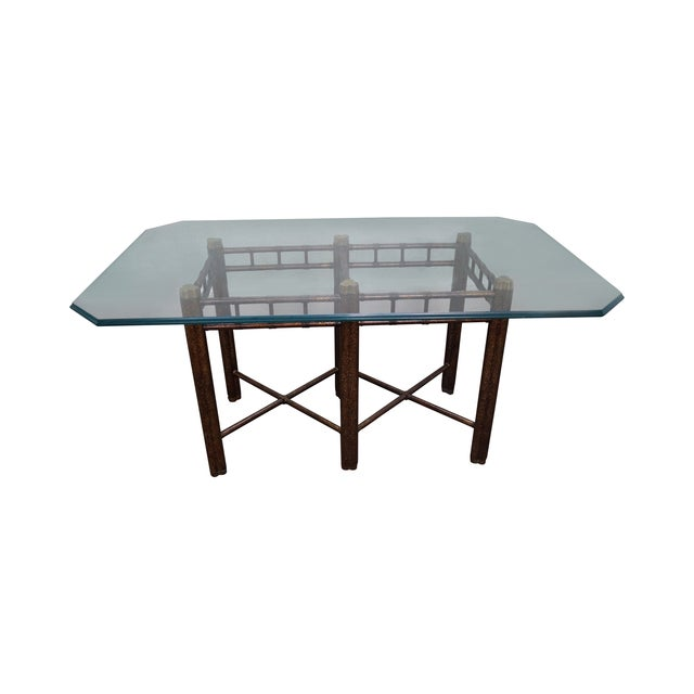 Faux Bamboo Tortoise Shell Painted Dining Table For Sale
