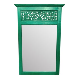 Green Bali Carved Mirror
