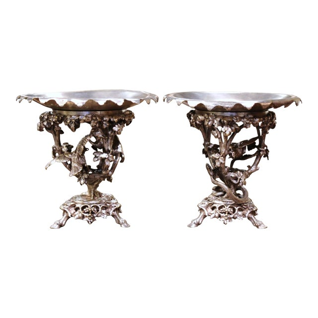 19th Century French Silvered Bronze Compotes Signed Christofle - a Pair For Sale