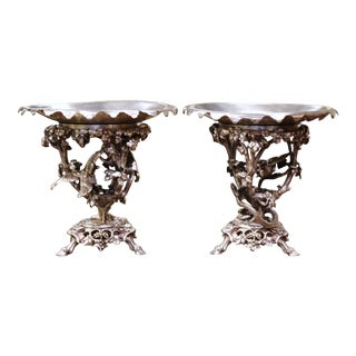 Pair of 19th Century French Silvered Bronze Compotes Signed Christofle For Sale