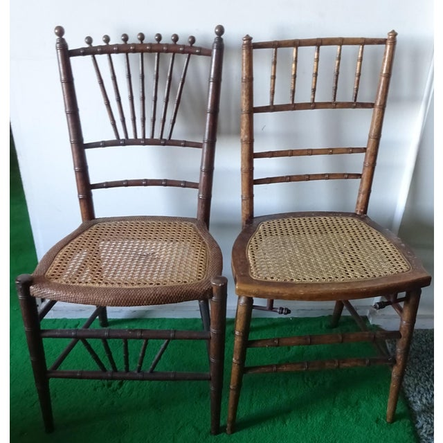 Wood Late 19th Century Antique Faux Bamboo Side Chairs - Unmatched Pair For Sale - Image 7 of 7
