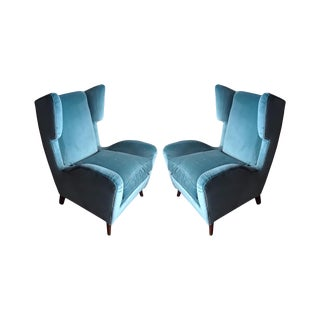 1960s Teal Velvet Wingback Chairs - a Pair For Sale