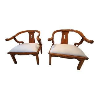 Vintage James Mont-Style Horseshoe Chairs - a Pair For Sale