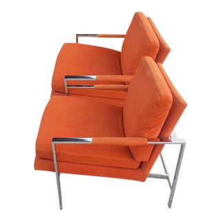 Carsons Vintage Chrome Orange Cube Arm Lounge Chairs - a Pair