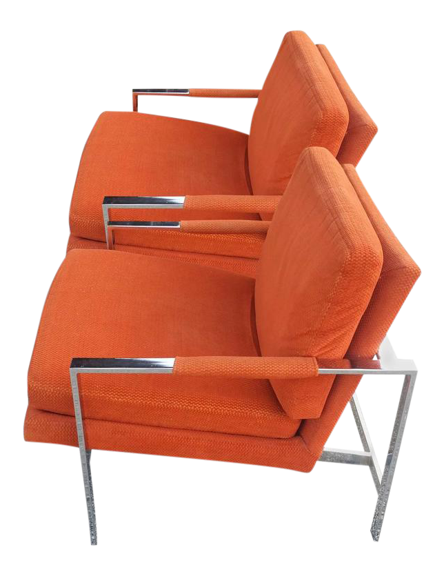 Carsons Vintage Chrome Orange Cube Arm Lounge Chairs   A Pair   Image 1 Of 7