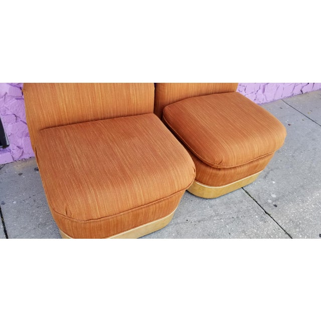 Orange Milo Baughman for Lane Burl Wood Base Slipper Lounge Chairs - a Pair For Sale - Image 8 of 12