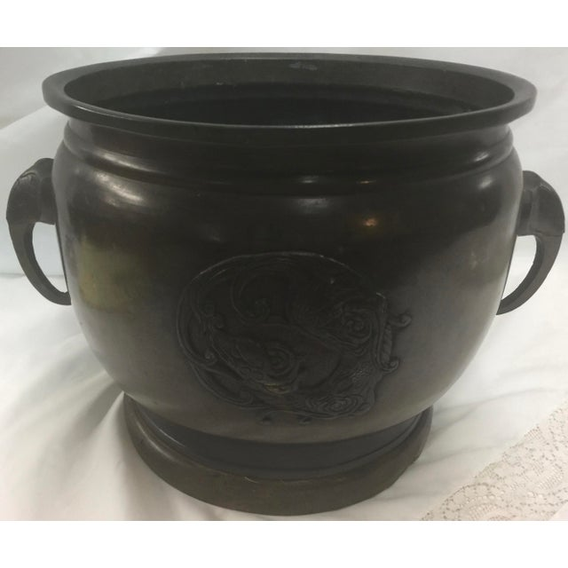 Beautiful Antique Bronze Japanese brazier , elephant handles, wood base, this still has the ceramic insert (but it is in...