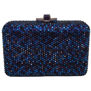 Judith Leiber Blue and Purple Swarovski Crystal Minaudiere Evening Bag Clutch For Sale