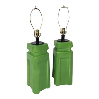 Mid-Century Modernist Green Table Lamps- a Pair