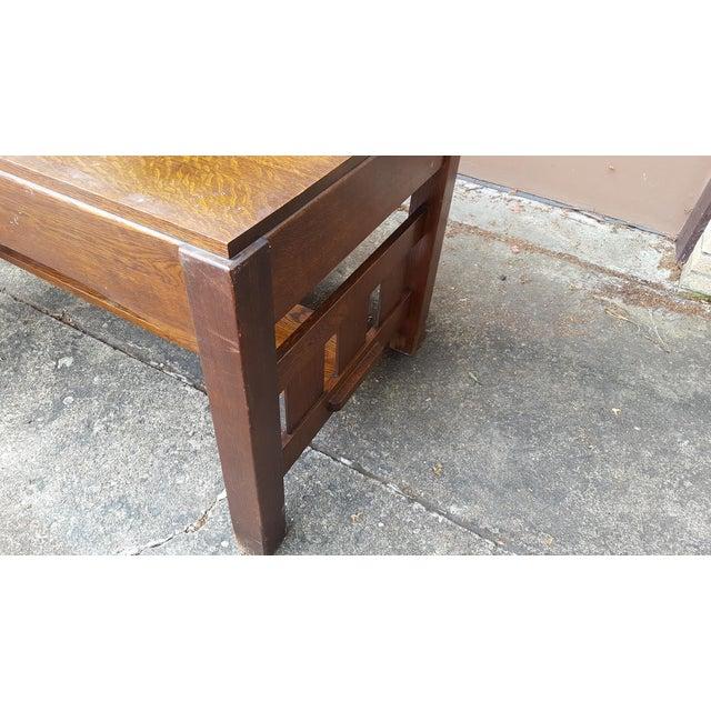 Mission Oak Arts Crafts Library Table Desk C.1900 For Sale - Image 4 of 6