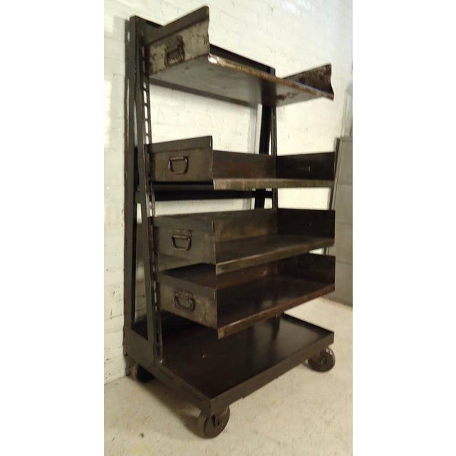Silver Industrial Five Level Shelving Unit For Sale - Image 8 of 8