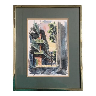 1980s New Orleans Balconies Signed Watercolor Painting For Sale