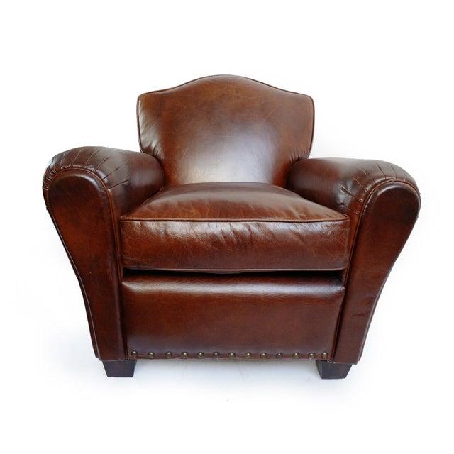 Sensational Brown Aged Leather Club Chair Spiritservingveterans Wood Chair Design Ideas Spiritservingveteransorg