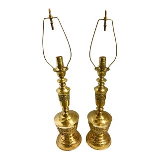 Hollywood Regency Mid-Century Brass Lamps - a Pair
