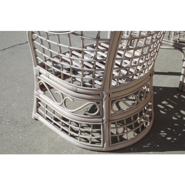 Vintage Rattan Club Chairs and Side Table - Set of 3 For Sale - Image 9 of 10