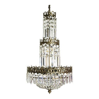 Swedish Crystal Chandelier in dark brass with basket shaped crystal bottom (width 32cm/13 inches) For Sale