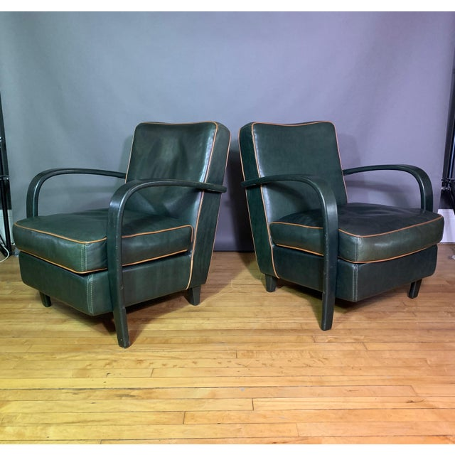 Pair Baxter Italia Green Leather Armchairs, 1990 For Sale - Image 11 of 11