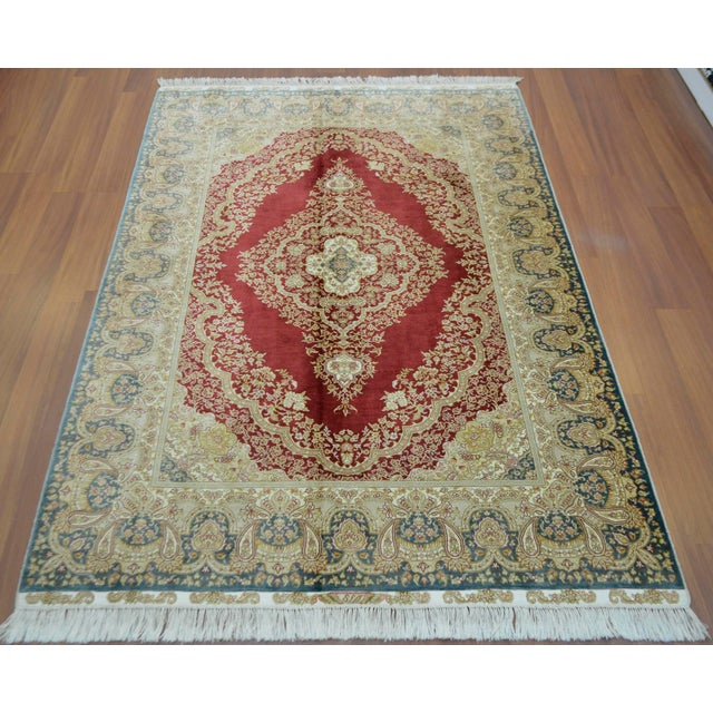 Hand Knotted Turkish Silk Rug - 4′1″ × 5′11″ - Image 4 of 9