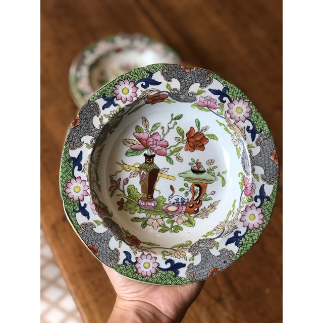 Early 19th Century Antique Floral Detail Ironstone Bowls - Set of Four For Sale - Image 5 of 10