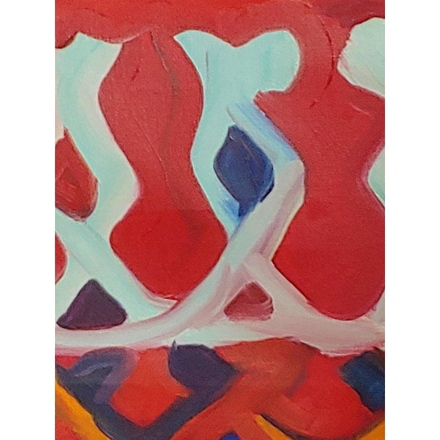 This is a large original abstract impressionism painting by late artist Richard Youniss, known for his bold use of color...