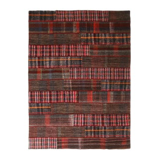 Contemporary Turkish Traditional Red and Multicolor Wool Kilim Rug For Sale