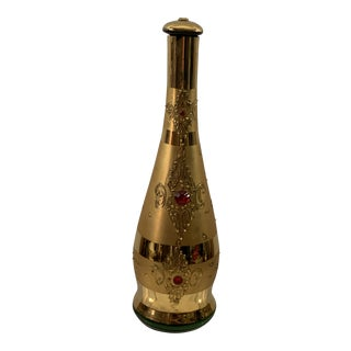 Vintage Gold Art Glass Decanter With Ruby Colored Gems For Sale