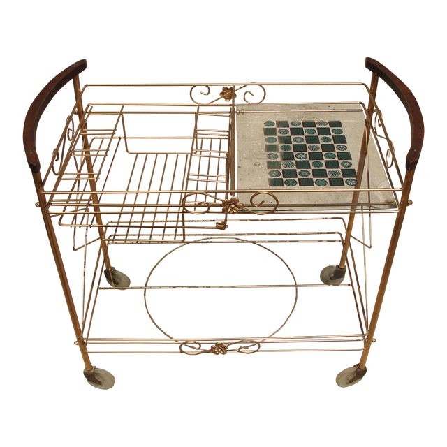 1950s Atomic-Style Rolling Bar Cart - Image 1 of 10