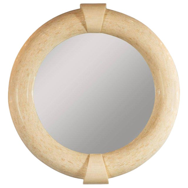 Mid-Century Modern Monumental Tessellated Bone & Antler Mirror by Karl Springer For Sale
