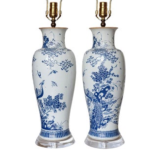 1980s Blue Chinese Lamps - a Pair For Sale