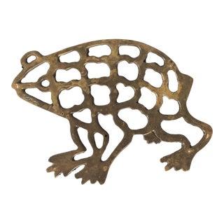 Vintage Brass Frog Trivet For Sale