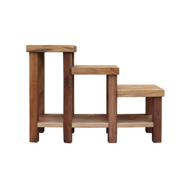 Chinese Rustic Thick Light Wood Step Shape Side Table Plant Stand For Sale In San Francisco - Image 6 of 6