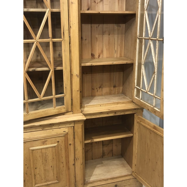 Chippendale Solid Knotty Pine and Glass Breakfront Bookcase For Sale - Image 9 of 10