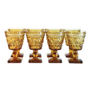 Vintage Amber Glass Goblets - Set of 8 For Sale
