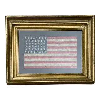 Antique 1890 44 Star American Flag in Period Frame For Sale