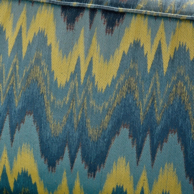 Chevron Fabric 1970s Baker Sofa Loveseat Sofa Set For Sale In Tampa - Image 6 of 13