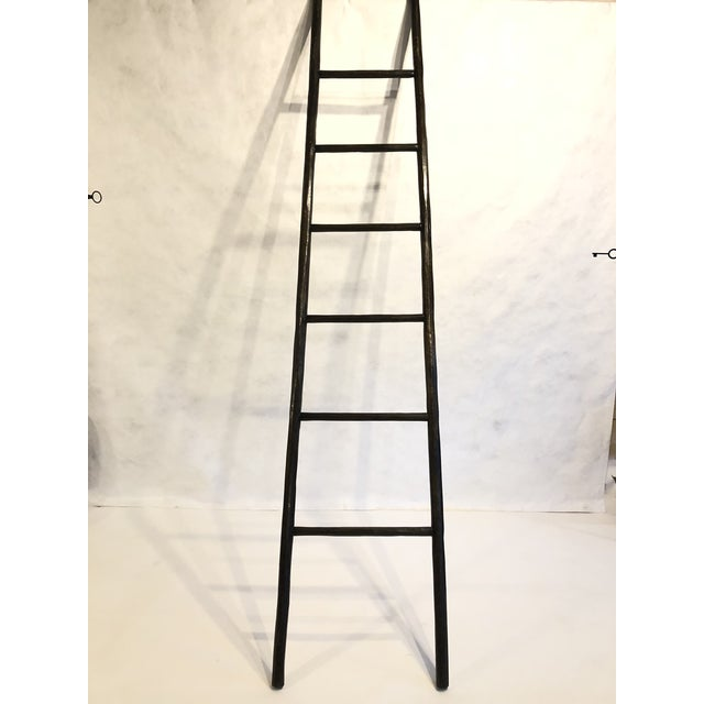 Folk Art Hand Hewn Oak 8 Ft Ladder For Sale - Image 3 of 4