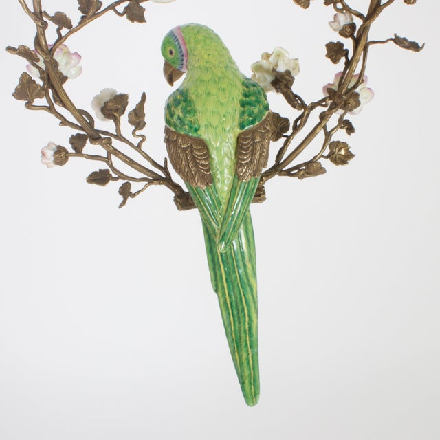Mid 20th Century French Opposing Wall-Mounted Porcelain Parrots - a Pair For Sale - Image 5 of 10