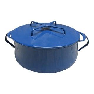 Mid 20th Century Dansk Blue Enamel Dutch Oven Cassarole Kobenstyle Pot For Sale