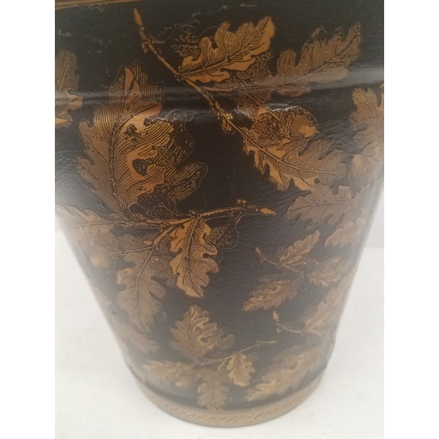 Black English Antique Bucket / Pail With Decoupage Leaves - Found in Southern England For Sale - Image 8 of 12