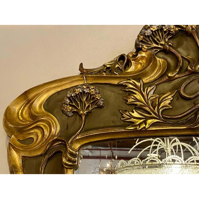 Early 20th Century Belle Époque Style Wall or Over Mantel Mirror Art Nouveau Form For Sale - Image 5 of 13