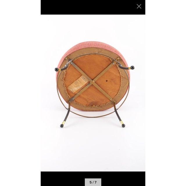 Mid-Century Modern Pink Upholstered Footrest For Sale - Image 5 of 7