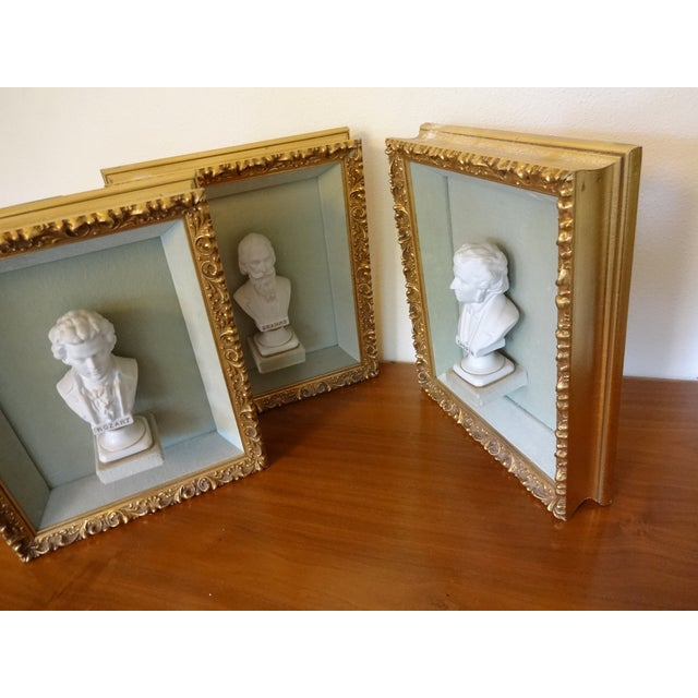 French Framed Bust Portraits of Classical Composers - Set of 3 For Sale - Image 3 of 13